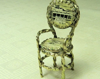 Dollhouse Chair with photo of London Airport Miniature Chair