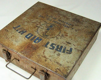 Vintage First Aid Kit- Rusty Metal Box with Supplies- Halco