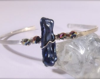Blue Stick Pearl & AB Crystals Sterling Silver Open Bangle