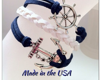 Helm and Anchor bracelet, Charm Bracelet, Friendship Bracelet, Nautical Bracelet