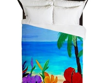 Tropical Beach Duvet Cover from my art. Available in twin,queen and king sizes