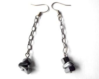 Hematite chain earrings, simple modern earrings, antique brass chain jewelry
