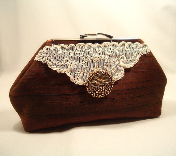 Brown Irridescent Silk Clutch Lace Accent Gold Button