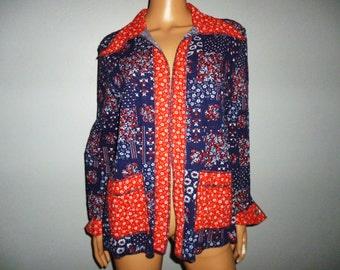 "Vintage 60's - Hillbilly - Pick-Nick - Patriotic -  Floral - Seersucker Cotton - Light Summer Coat - Blazer - Jacket - 41"" bust size"