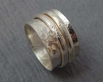 Sterling Silver Textured Spinner/Worry Ring