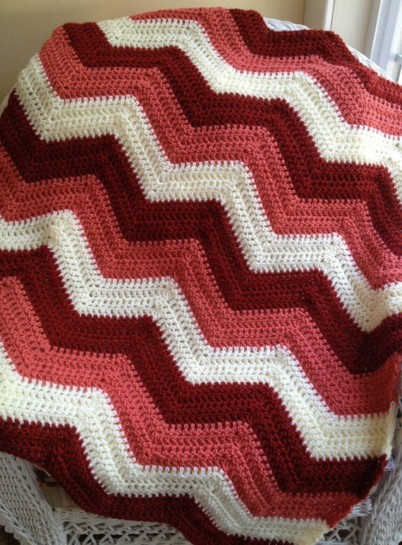 Zig Zag Knitting Pattern Baby Blanket : New chevron zig zag ripple baby blanket afghan wrap crochet