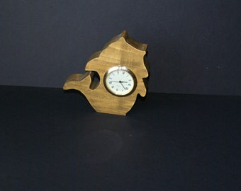 Wood Shelf Sitter Fish Clock Scroll Saw