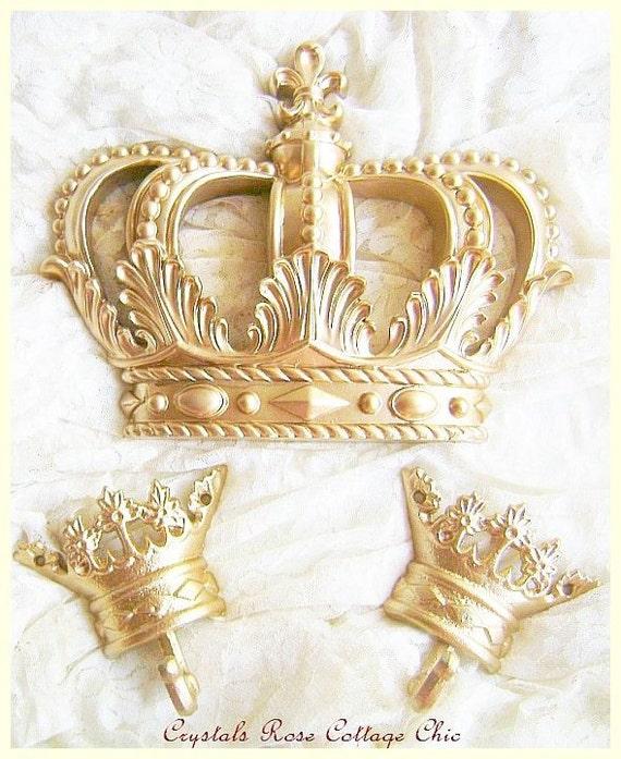 Baby Crown Wall Decor : Gold fleur de lis bed crown canopy set paint finish
