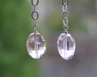 Genuine Checker Cut Citrine/Amethyst (Ametrine) Sterling Silver Dangle Earrings