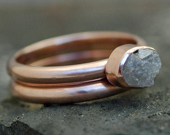 Bezel-Set Rough Diamond Stacker Engagement Ring and Wedding Band in Recycled 14k Rose Gold- Size C Diamonds