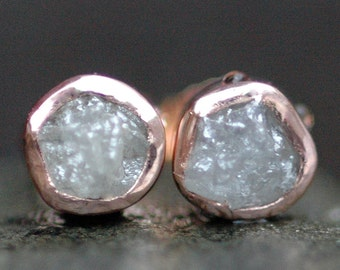 Rough Diamond and 14k Recycled Rose Gold Bezel Post Earrings