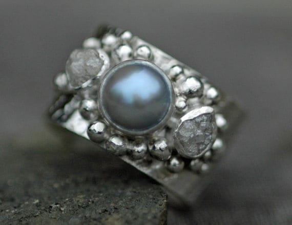 Raw Diamonds and Silver Grey Saltwater Pearl in Textured Sterling Silver Ring- Custom Made