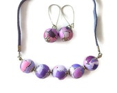 Purple Lavender Perfect Set - Handmade Polymer Clay Beads Necklace and Earring  with suede leather cord