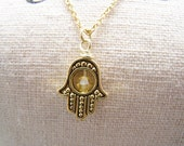 Yellow  Hamsa Necklace. Happiness. Luck. Health. Good Fortune
