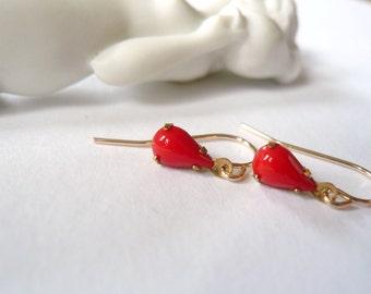 Tiny red earrings. Petite glass red teardrop earrings on 14K gold fill (GF) ear wires. Dainty jewelry.