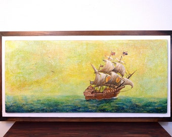 Vintage Nautical, Ship at Sea Oil Painting by CA State Prison Inmate