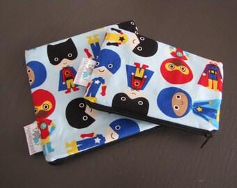 Reusable Machine Washable Zippered BPA-Free Snack-Loc Large Sandwich Small Snack Bag Set - Superheros Boys Super Hero Blue
