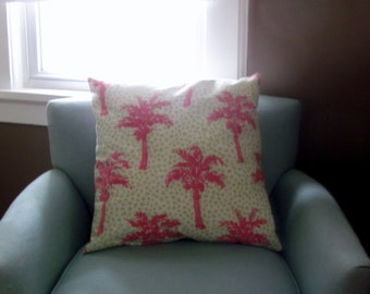 Pink Palm Tree and Green Cheetah Print 20 x 20 Pillow Cover