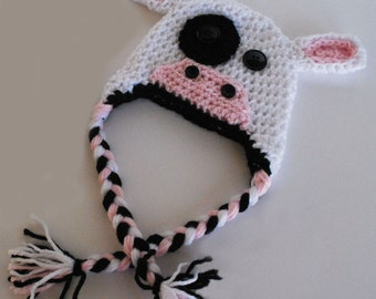Crochet Cow Hat in sizes Newborn to Adult