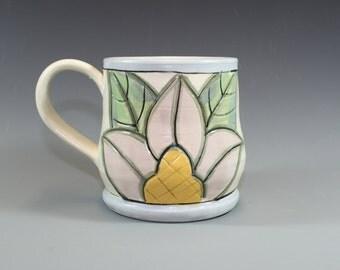 Soft pastel floral mug, Coffee Mug, Ceramic hand painted, Pottery Mug hand carved - SKU138-1-4