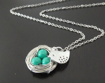 Turquoise Bird Nest Necklace