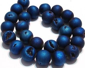 8mm Druzy type round beads deep cobalt blue matte titanium coated