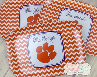Personalized Clemson Melamine Chevron Platter with Tiger Paw