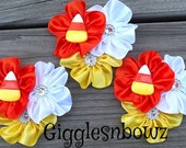 Set of THReE Embellished Satin CLuSTeR Flowers- CaNDY CoRN- 3 inch Size
