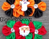 Grosgrain Ribbon Flowers- 2 Pc Christmas/ Halloween Cluster Flowers- SaNTa CLAUS and GHOST - 4 inch Across- Headband Supplies, Diy Supplies