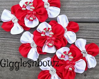 Set of THReE Embellished GRoSGRAiN CLuSTeR Flowers- CaNDYCaNE ReD/WHiTe - 4 inch Size