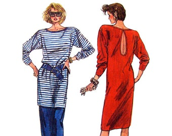 1980s Dress or Tunic & Skirt Pattern Simplicity 7890 Knit Pullover Top or Dress Keyhole Back Womens Sewing Pattern Size 6 8 10 12 UNCUT