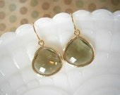 Olive Green Earrings, Gold Earrings, Gifts for Her, Best Friend Birthday, Autumn Wedding, Mother Gift