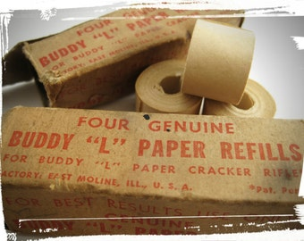 VINTAGE 1940s / 1950s Buddy L Paper Refills for M-99 Paper Cracker Rifle - 2 Boxes (1 Sealed) 7 Rolls NOS Antique Collectible Children's Toy