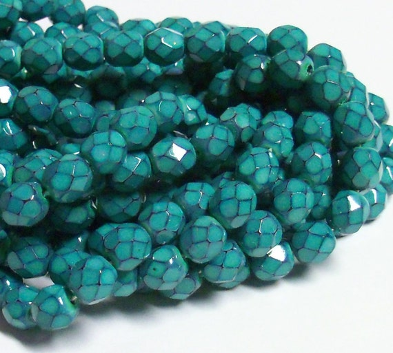 Czech Fire-Polished Glass Faceted Round - 6mm - Turquoise Blue Dipped Decor (Coated) - 20 Beads