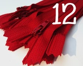 12 inch red zippers wholesale, Twenty-five pcs, YKK color 519, all purpose, dress zippers