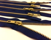 10 inch metal zippers wholesale, TEN pcs, navy, YKK color 919, brass zippers, gold teeth, navy tape