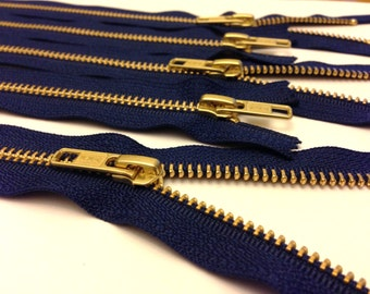 14 inch metal zippers wholesale, FIVE pcs, navy, YKK color 919, gold teeth zippers, navy tape