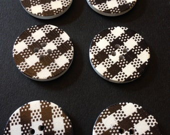 Large wood buttons, plaid design - 30 mm in diameter, painted wood, plaid print, black and white, 6 pcs