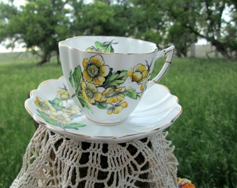 Vintage Teacup Tea Cup and Saucer Yellow Flowers English Bone China