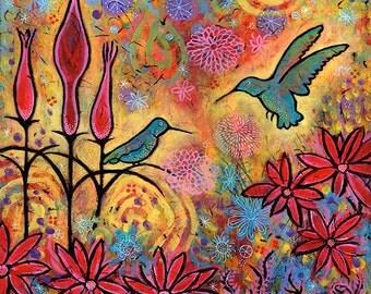 Colorful Hummingbird Art Print, Enchanted Hummingbirds Decor
