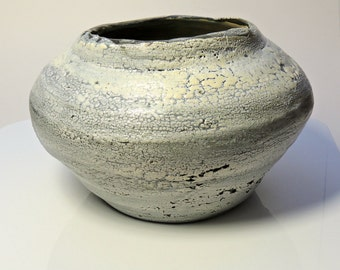 White Ceramic Pot Textured Round Abstract Pottery