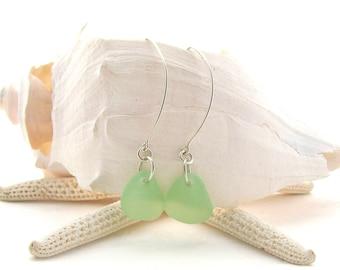 Saki Ear Wires w/Beach Glass in Sea Foam