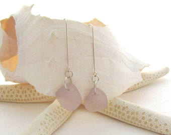 Long Leg Beach Glass Earrings - Lavender