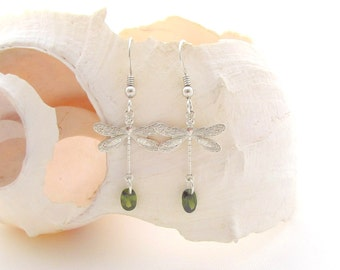 Dragonfly Earrings - Olive