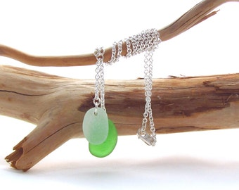 Sterling Silver Necklace w/Beach Glass Drops - Kelly/Seafoam