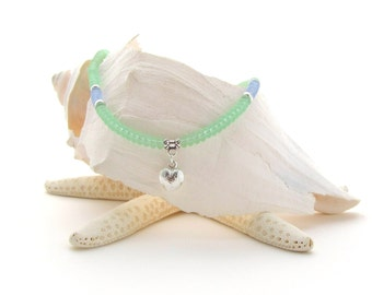 Green Matte Bead Necklace w/Engraved Heart