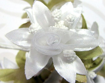 Organza and Fabric Star Flower Embellishments in White