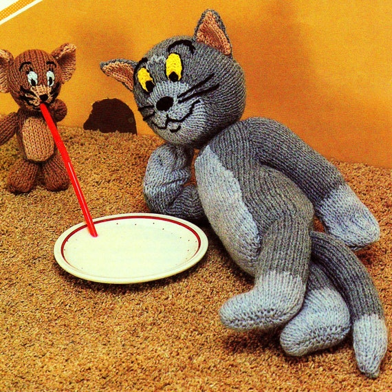 Cartoon Knitting Patterns : INSTANT DOWNLOAD PDF Vintage Knitting Pattern Tom and Jerry