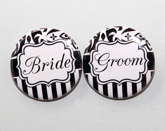 Bride And Groom Black White Pattern - Buttons Pinbacks Badges 1 1/2 inch Set of 2
