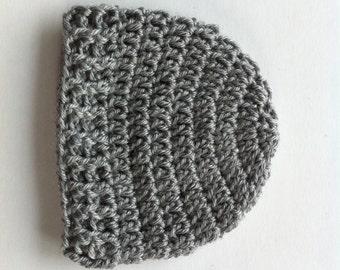 Preemie Baby Hat - Grey Baby Hat - CROCHET BABY HAT - Newborn Hat - Baby Boy - Baby Girl - Beanie